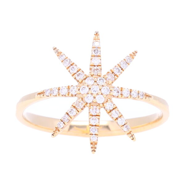 Closeup photo of 14k Diamond Star ring