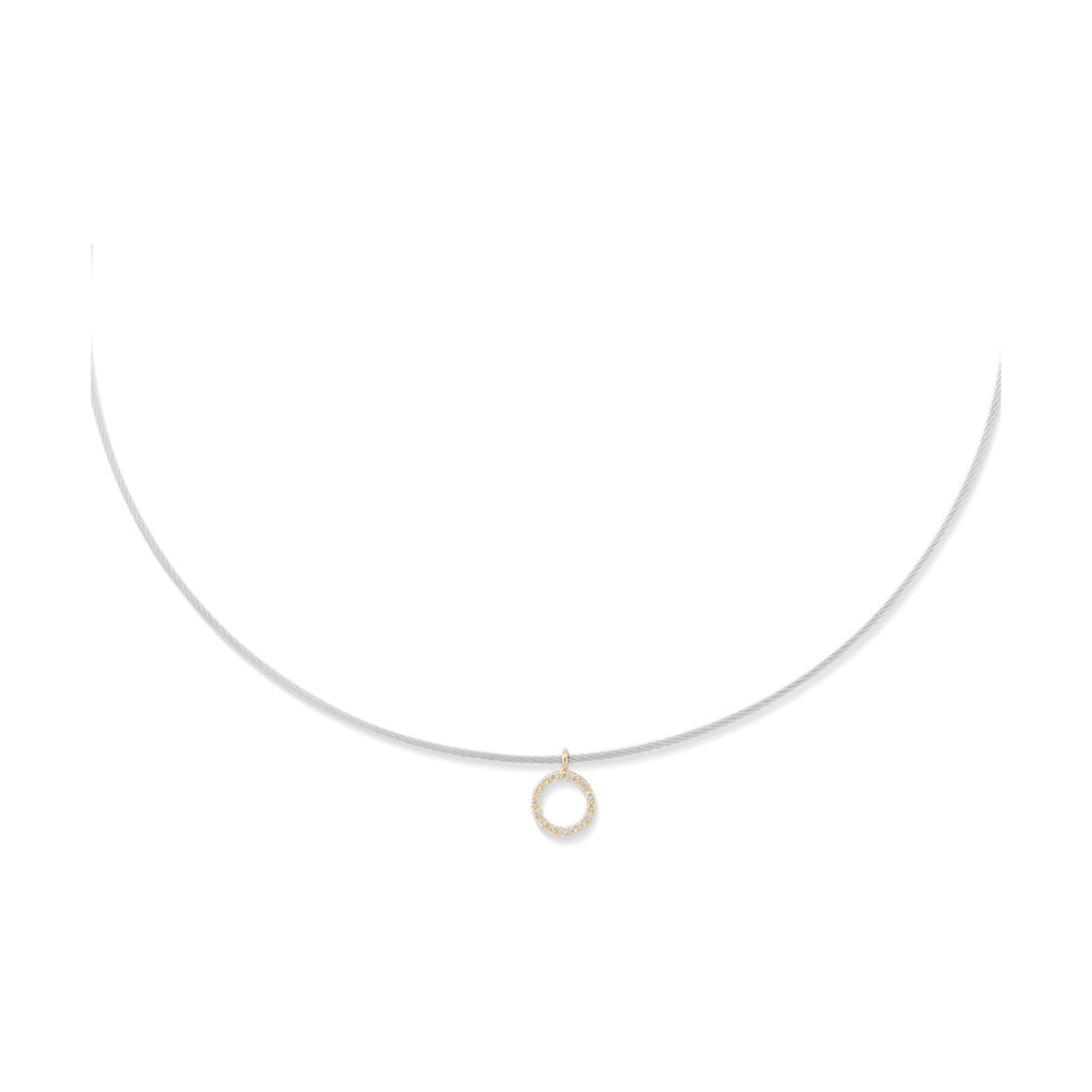 Diamond Circle Charm Cable Necklace