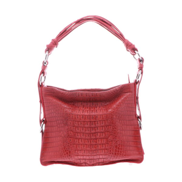 Closeup photo of Red Nile Crocodile Hornback Shoulder Bag