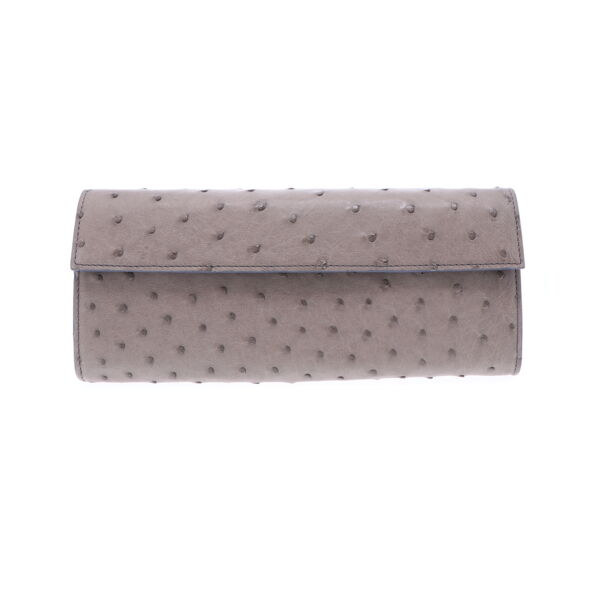 Closeup photo of Grey Ostrich Day Clutch
