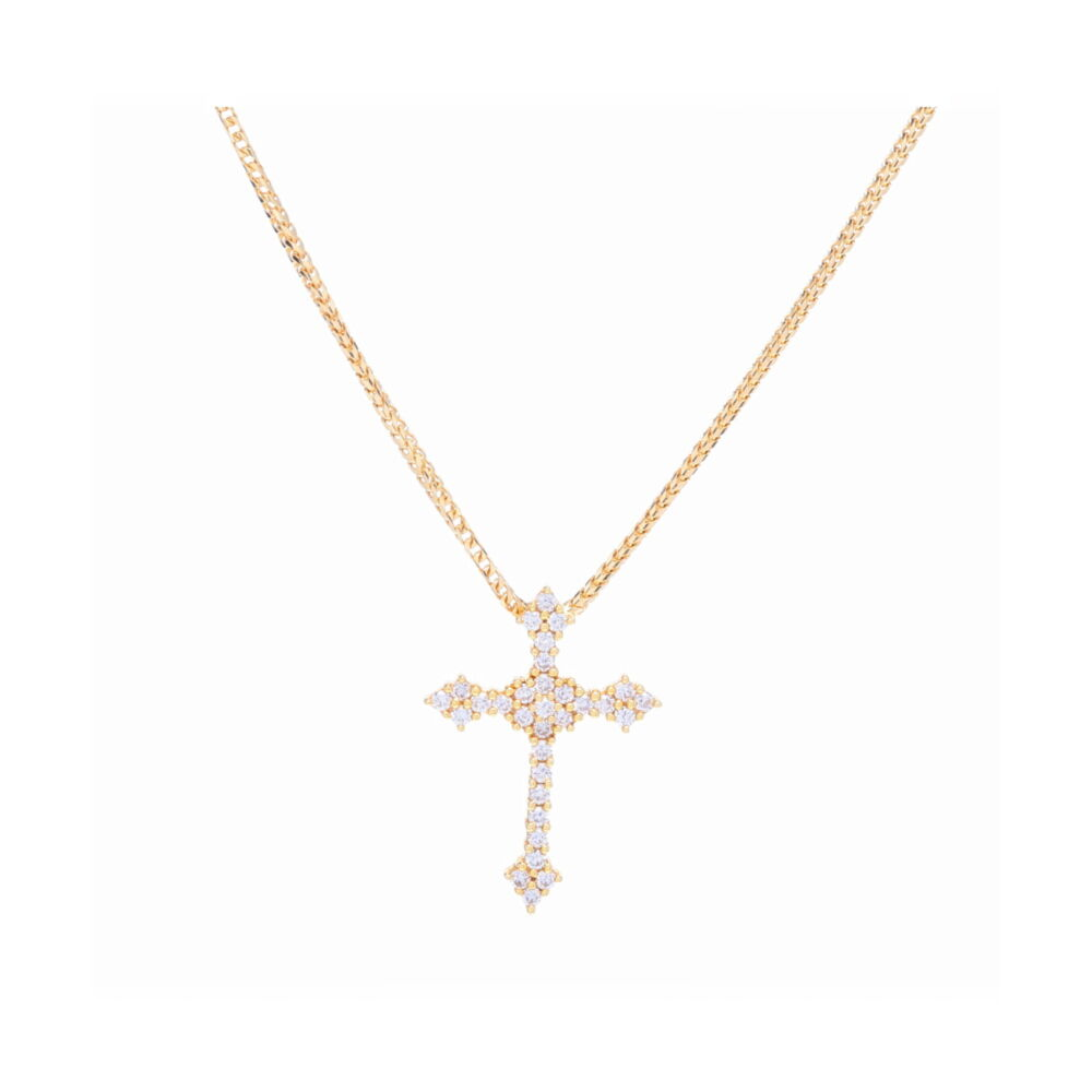 18k Yellow Gold Prong Set Diamond Cross Pendant