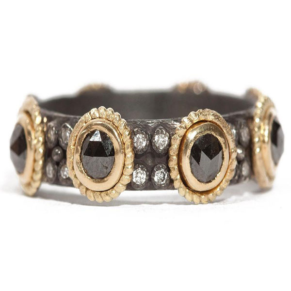 Closeup photo of Old World Black Sapphire Sterling Silver Ring