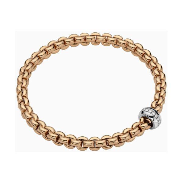Closeup photo of Eka Flex'it Bracelet in Rose Gold with Diamonds size M (17 cm)