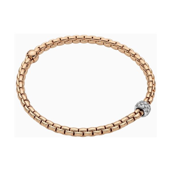 Closeup photo of Eka Tiny Flex'it 18k Gold Pave Bracelet in Rose Gold with Diamonds size M (17 cm)