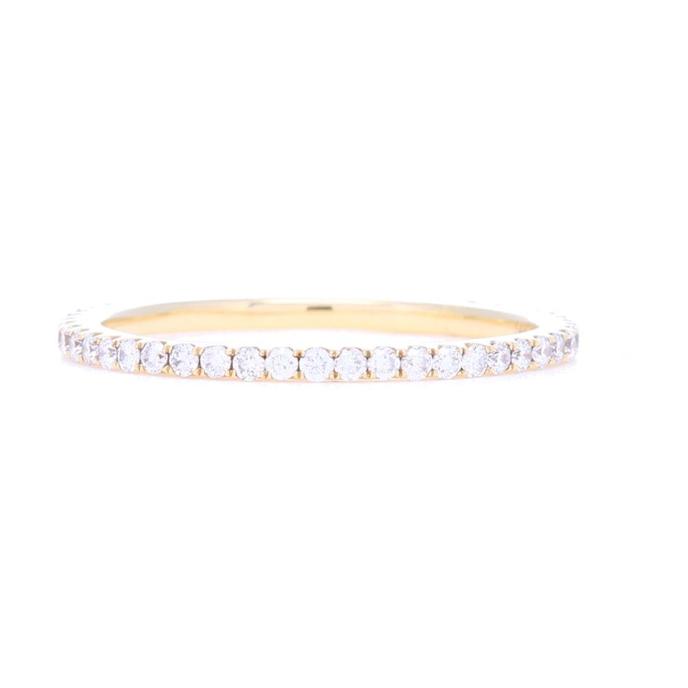 18k Yellow Gold Micro Pave Diamond Band Ring