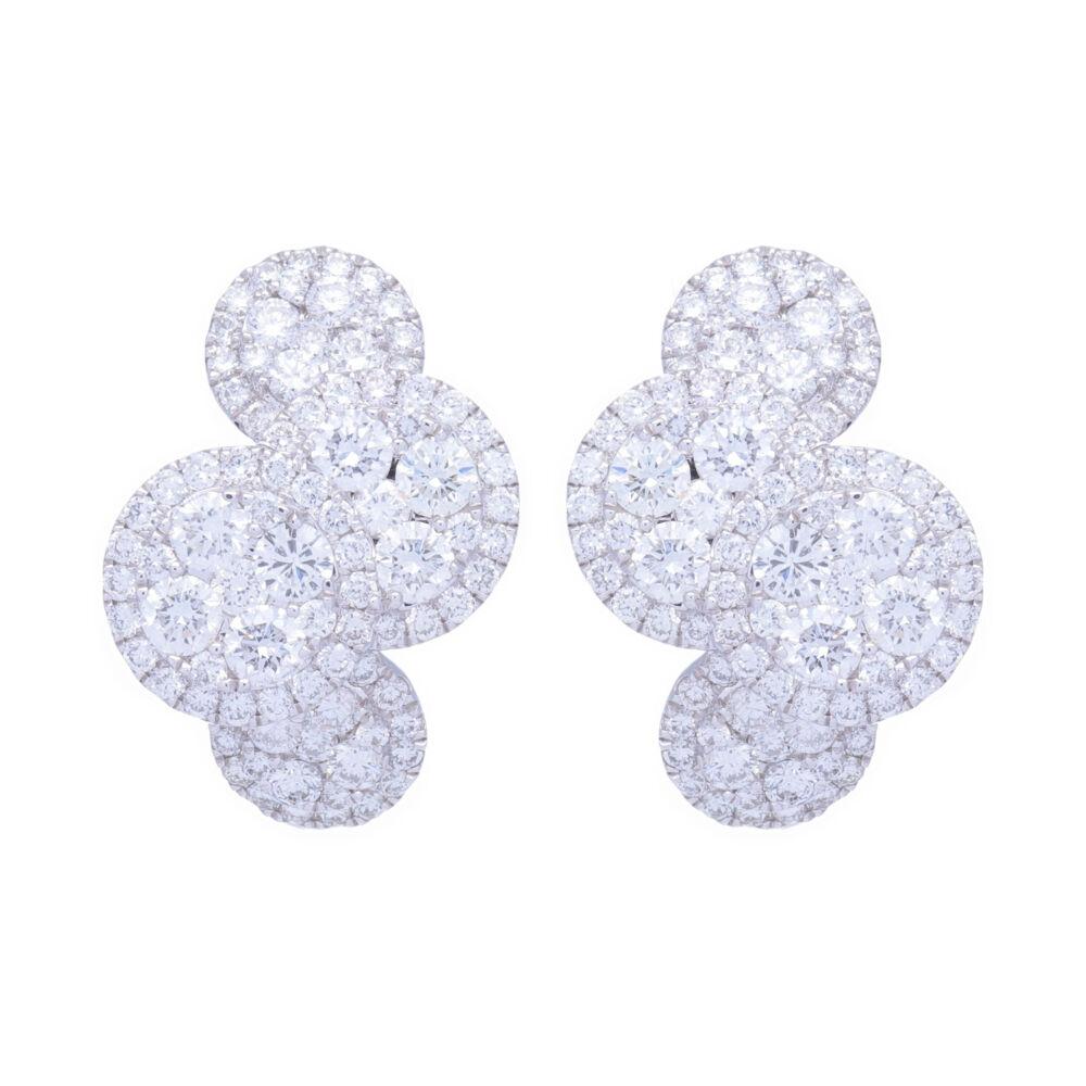18k White Gold and Diamond Clustered Circle Huggie Hoop Earrings