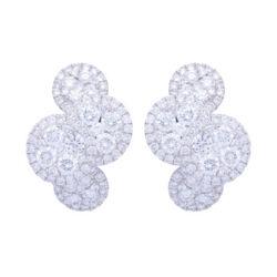 Closeup photo of 18k White Gold and Diamond Clustered Circle Huggie Hoop Earrings