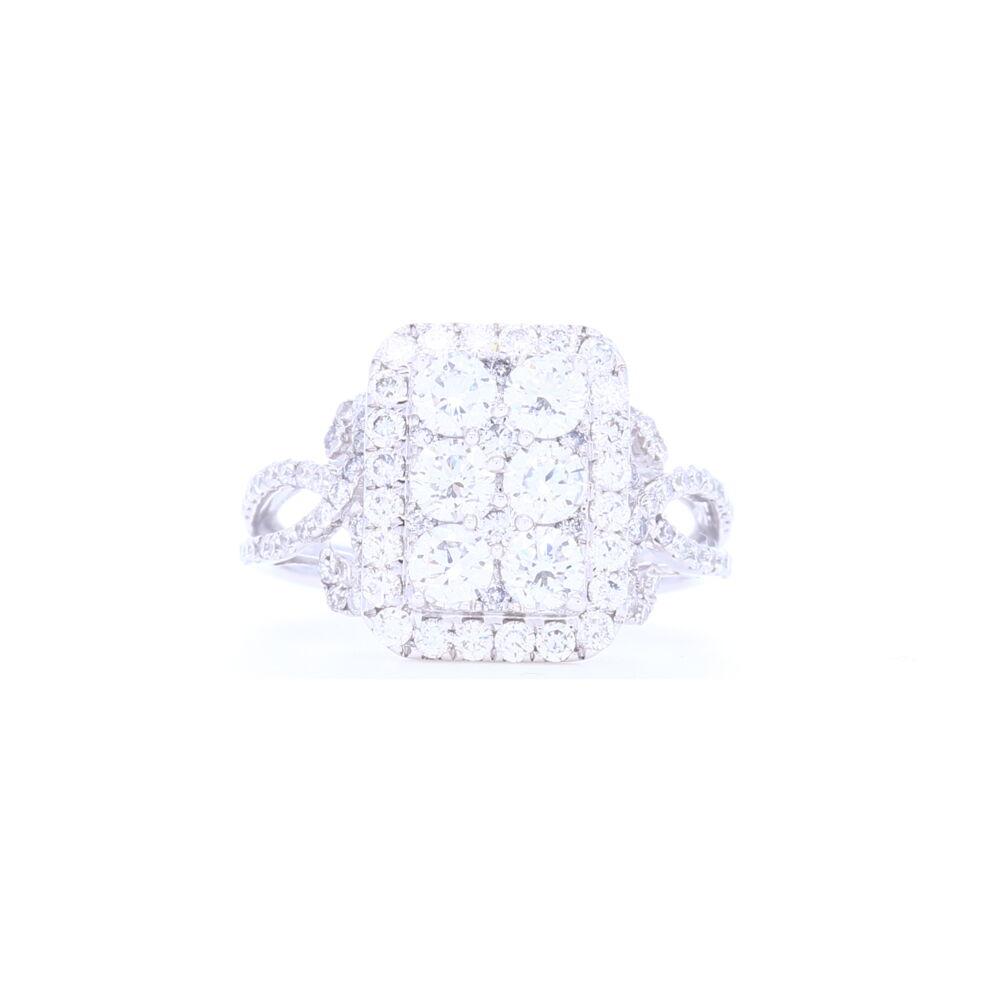 18k White Gold Rectangle Shape Cluster Diamond Statement Ring