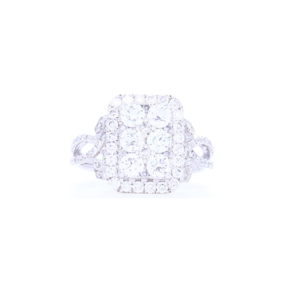 Closeup photo of 18k White Gold Rectangle Shape Cluster Diamond Statement Ring