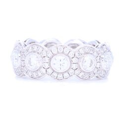 Closeup photo of 18k White Gold Halo Set Brilliant Cut Diamond Eternity Ring