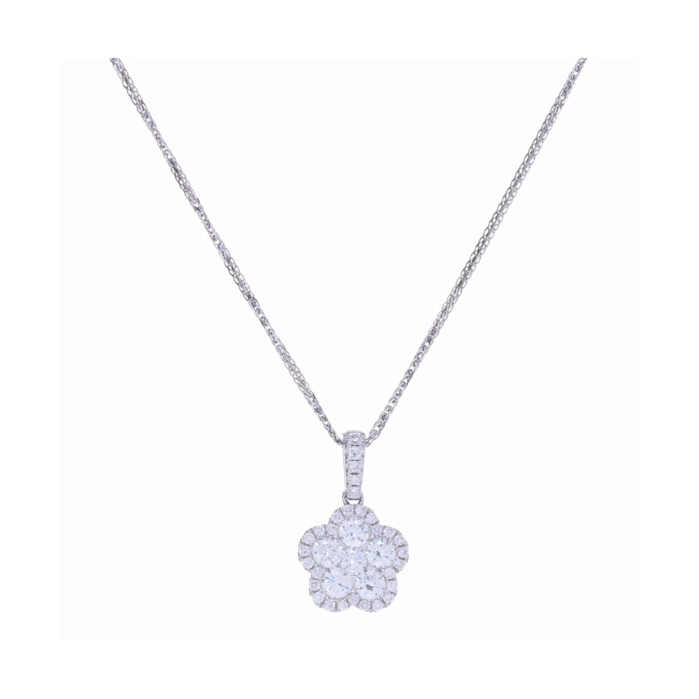 Cluster Flower Pendant with Diamond Halo