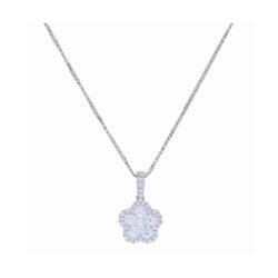 Closeup photo of Cluster Flower Pendant with Diamond Halo