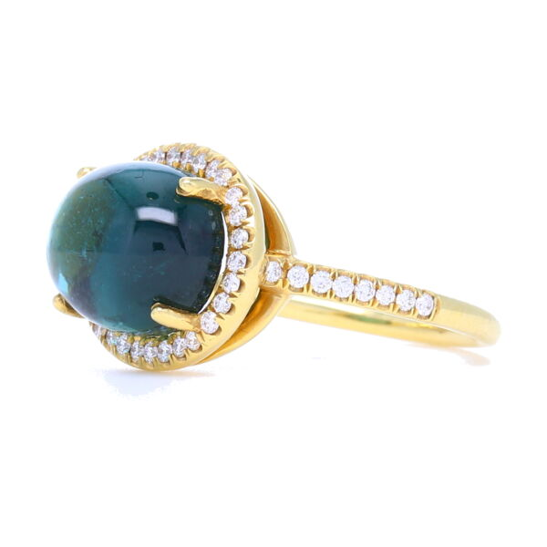 Closeup photo of Tourmaline Cabochon Ring with Diamond Halo