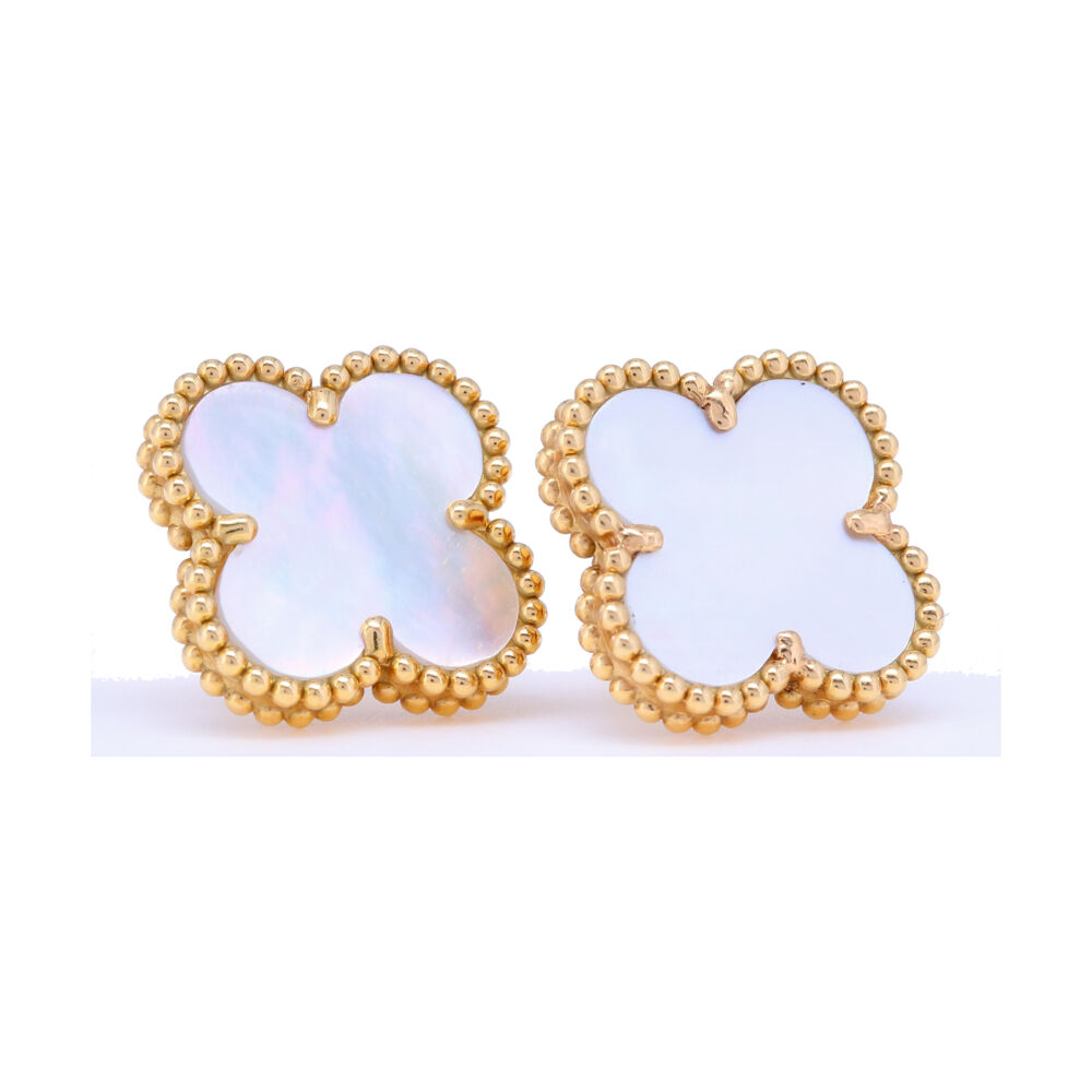 Classic 18k White Mother of Pearl Clover Earrings