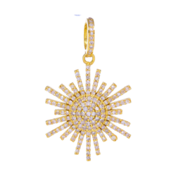 Closeup photo of Yellow Gold Diamond Scatter Star Pendant