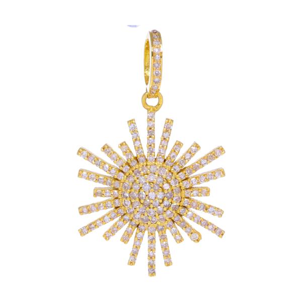 Closeup photo of Yellow Gold Diamond Scatter Star Pendant