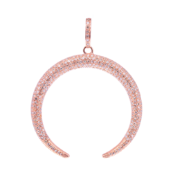 Closeup photo of 18k Pave Diamond Rose Gold Crescent Moon Pendant