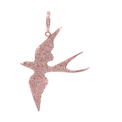 Closeup photo of Pave Diamond Swallow Pendant