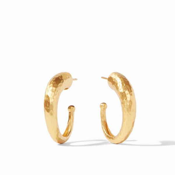 Closeup photo of Hammered Hoop earrings size Medium