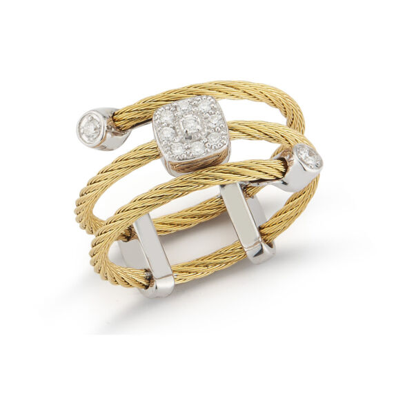 Closeup photo of Yellow Cable Flex Ring with Square Diamond Stations set in 18kt White Gold