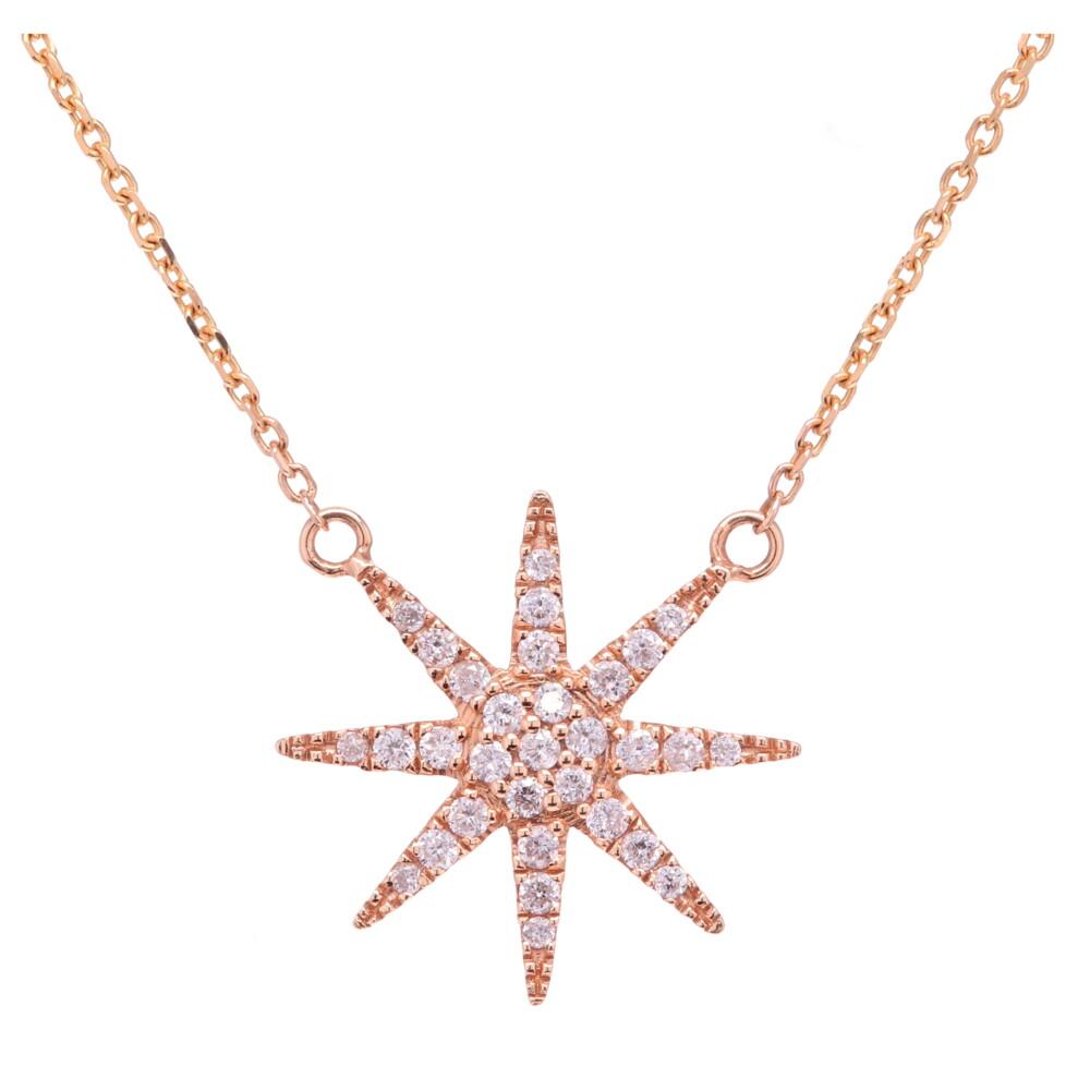 14k Yellow Gold Single Star Diamond Pendant