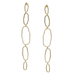 Closeup photo of Sueno 18K Yellow Gold Oval Earring With Champagne Diamonds