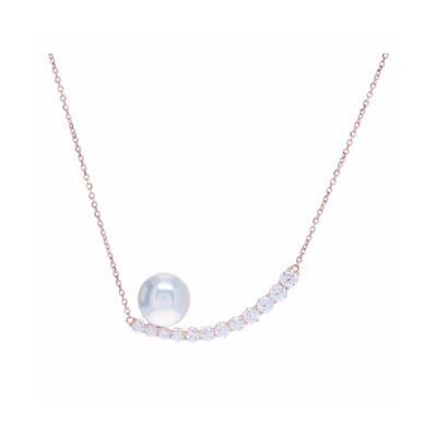 Grey cable, 18kt. White Gold, 0.05    total carat weight. Diamonds and stainless steel. Imported. - 04-32-S720-11