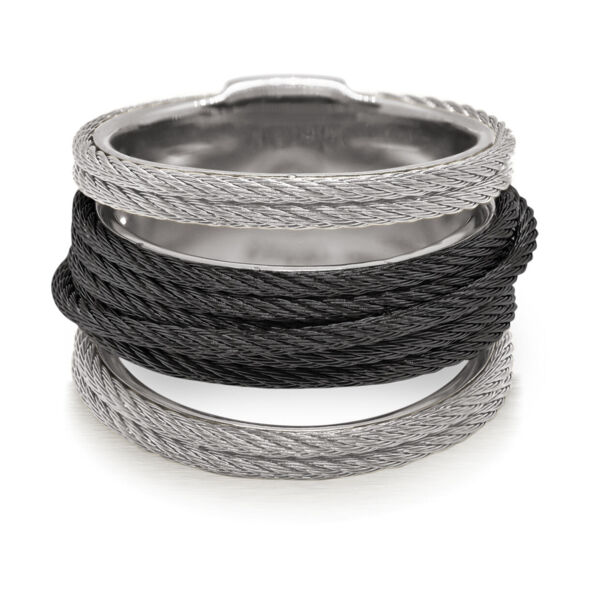 Closeup photo of Noir Multi-Cable Separated Stack Ring