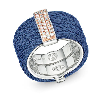 Grey cable, 18kt. White Gold, 0.23total carat weight. Diamonds and stainless steel. Imported.