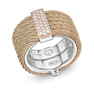 Black cable, 18kt. White Gold, 0.23total carat weight. Diamonds w/stainless steel. Imported.