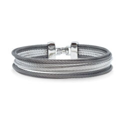 Closeup photo of Classique Multi-Strand Stacked Alternating Cable Bangle