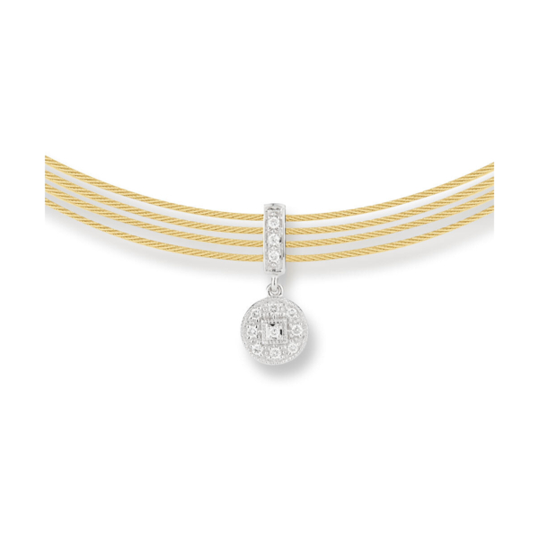 Closeup photo of Cable Round Drop Choker Necklace with 18kt White Gold & Diamonds