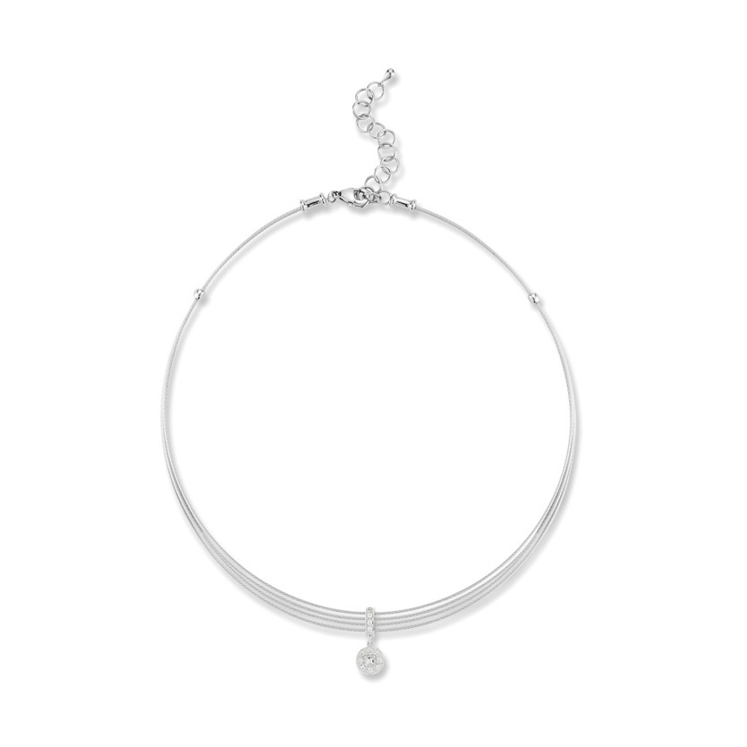 Cable Round Drop Choker Necklace with 18kt White Gold & Diamonds