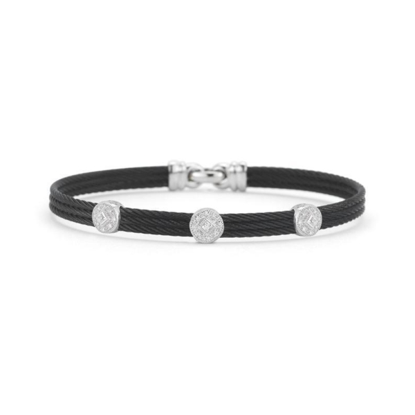 Closeup photo of Noir Three Circled Station Bangle