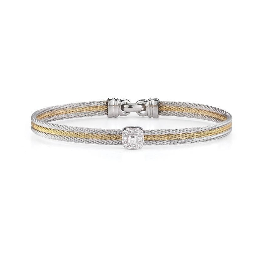 Image 2 for Two Tone Single Squared Station Bangle