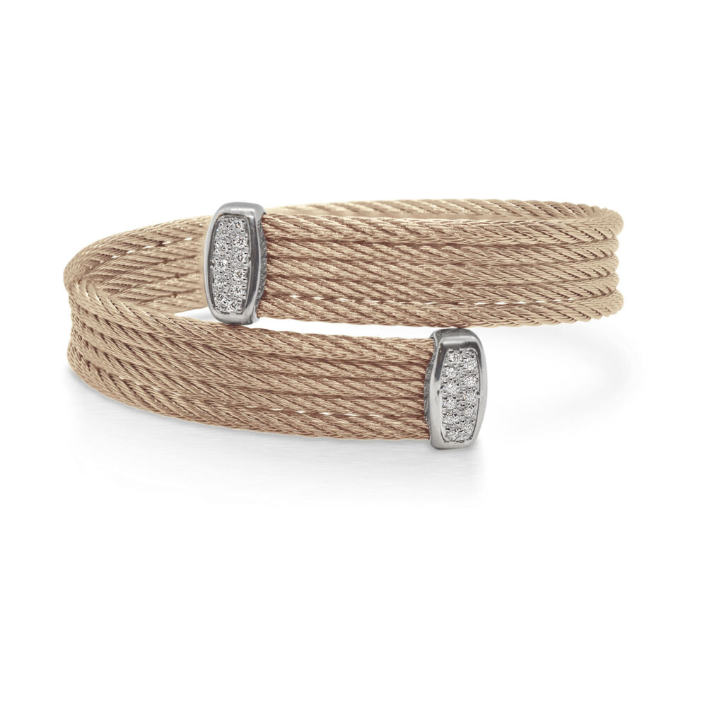 Cable Bypass Bracelet with 18k White Gold & Diamonds