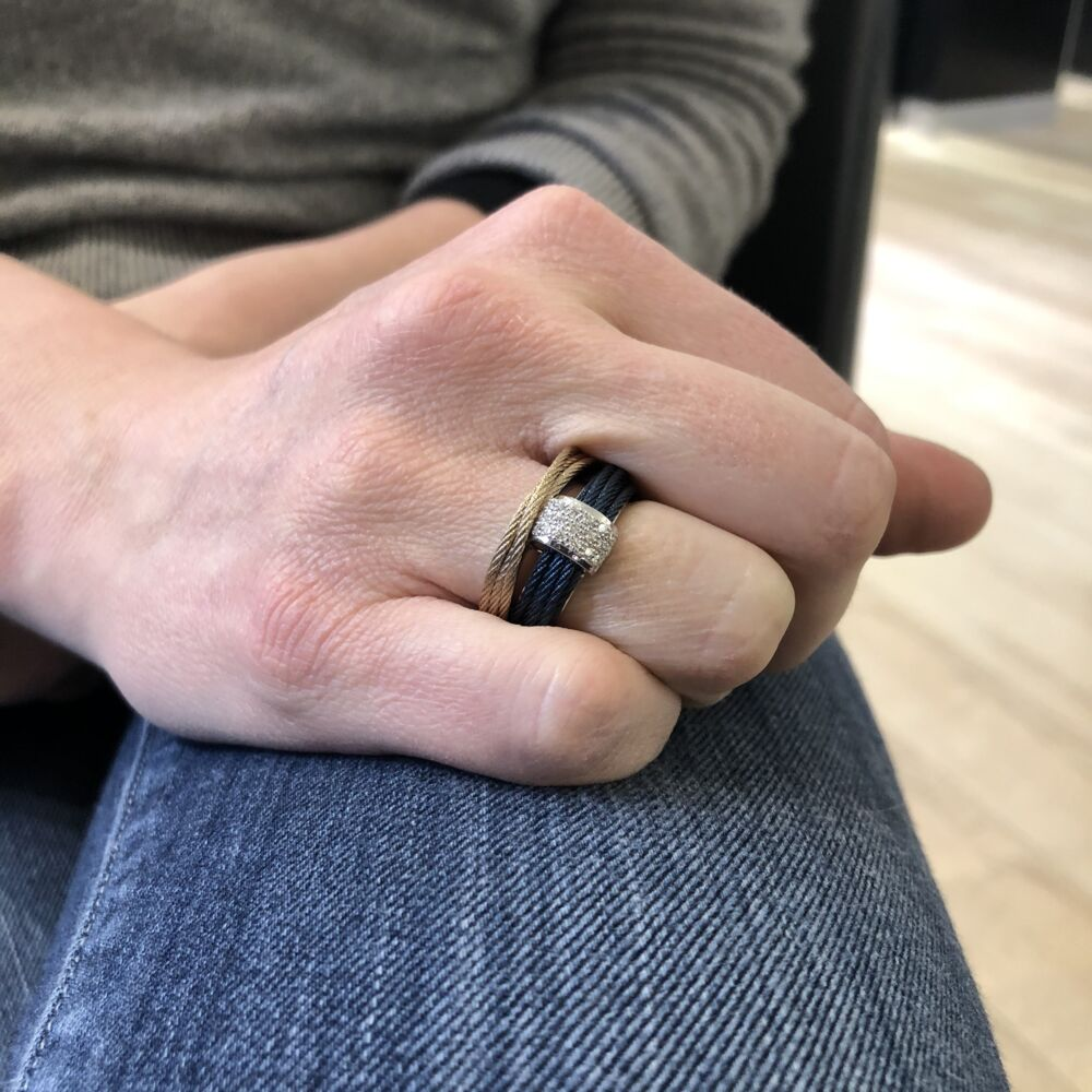 Two Tone Cable Stack Ring