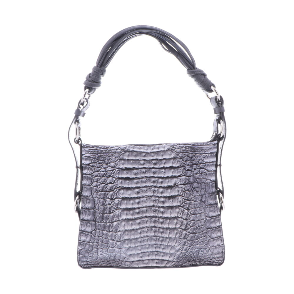 Grey Caiman Croc Shoulder Bag with Dark Navy Ostrich Trim