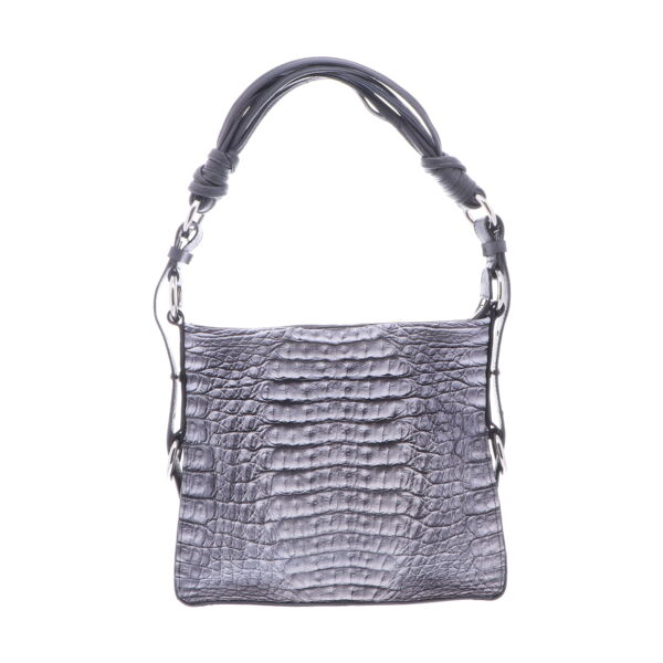 Closeup photo of Grey Caiman Croc Shoulder Bag with Dark Navy Ostrich Trim