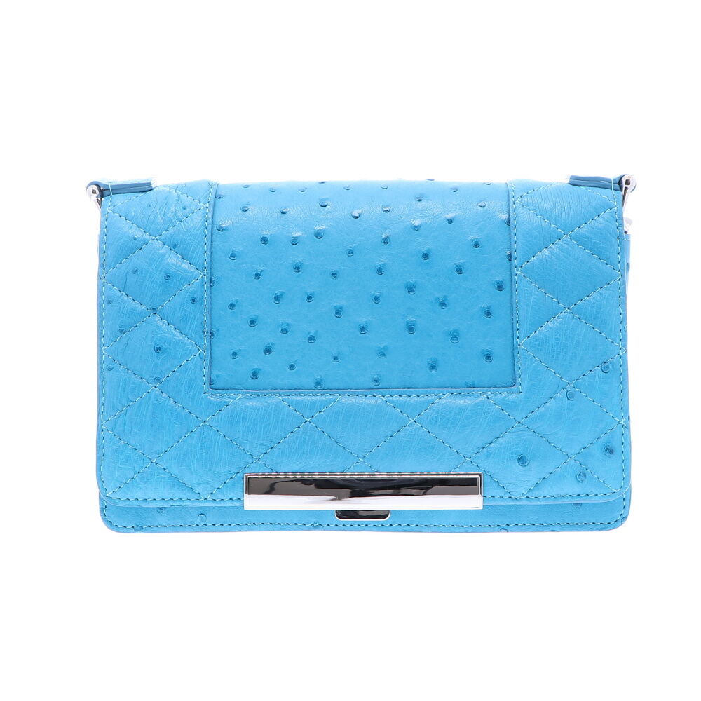 Baby Blue Ostrich Chain Bag