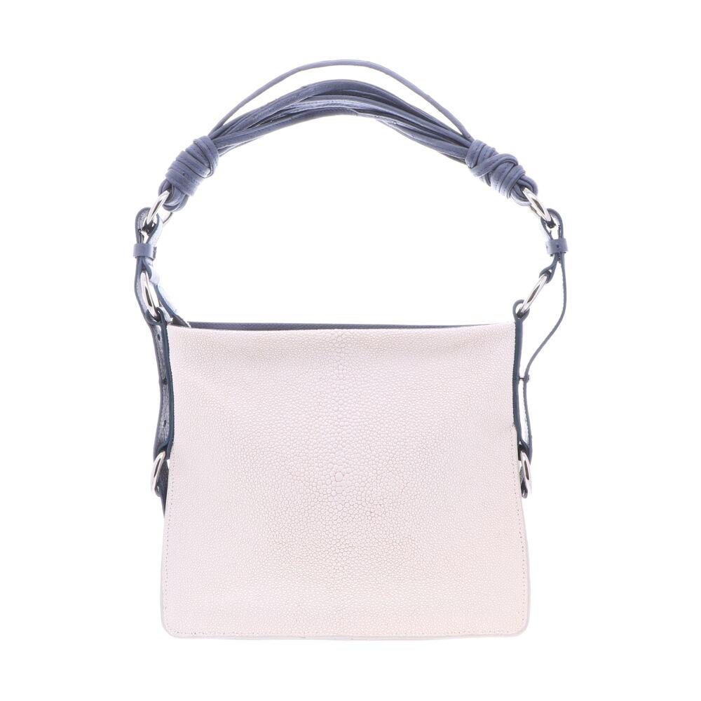 White Stingray Shoulder Bag with Navy Ostrich Trim