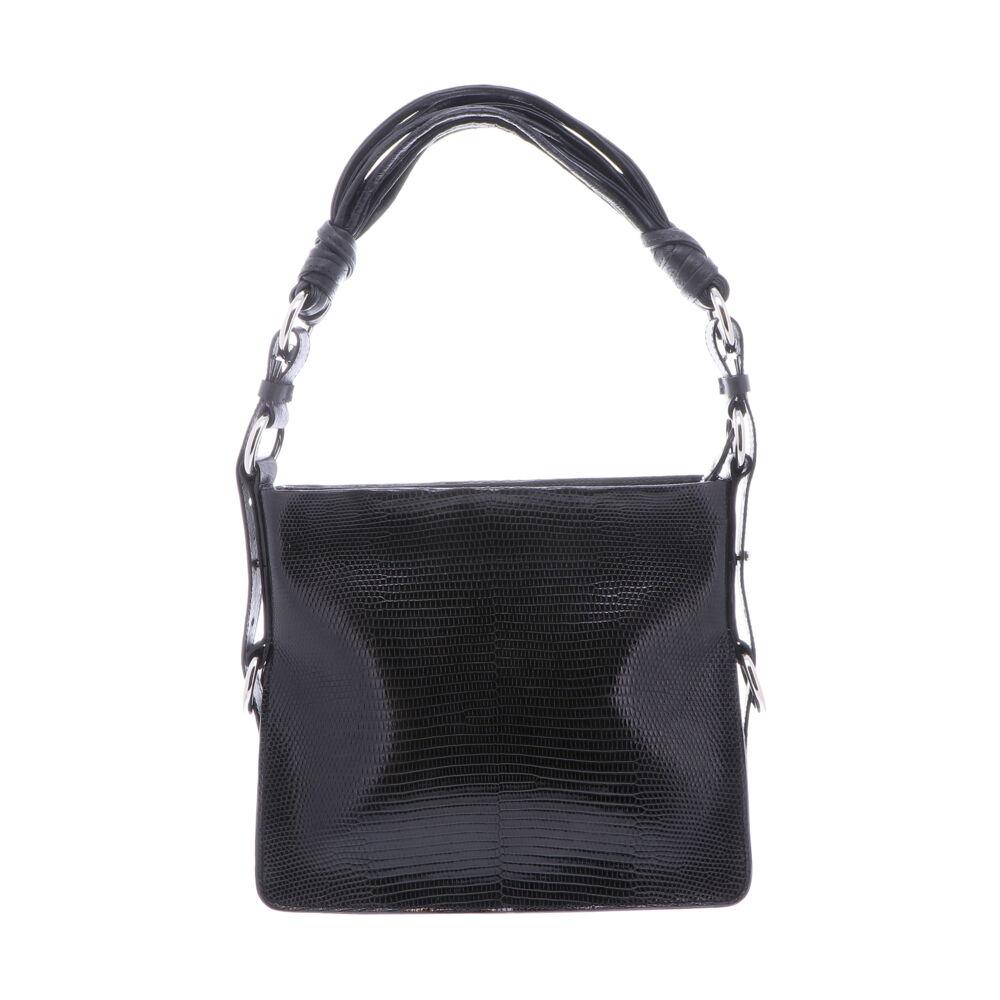 Black Lizard Shoulder Bag with Black Ostrich Trim