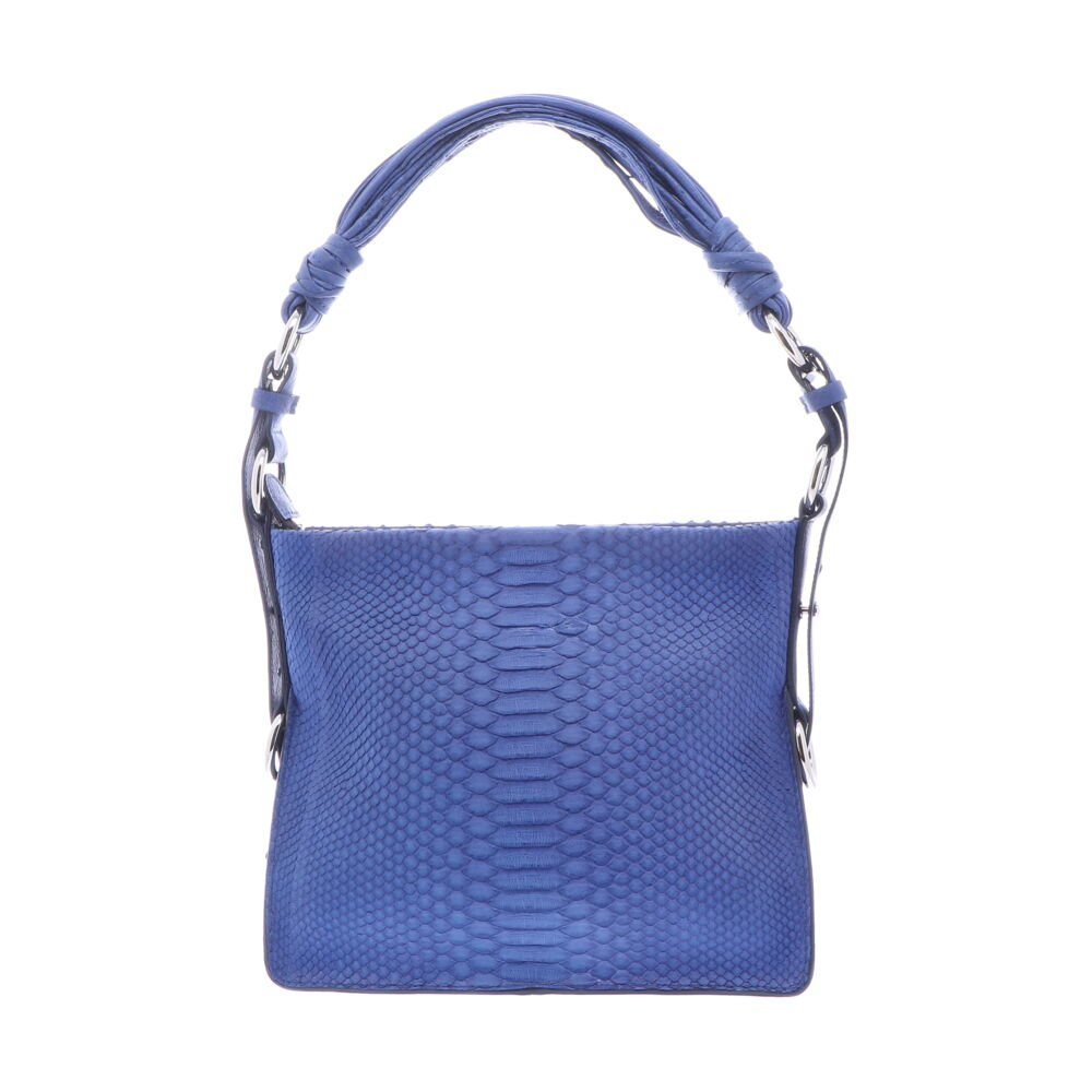 Royal Blue Python Shoulder Bag With Royal Blue Ostrich Trim