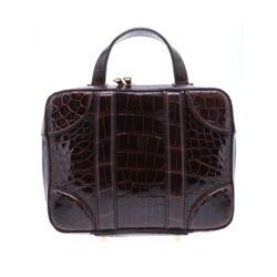 Closeup photo of Brown Alligator Luggage Bag