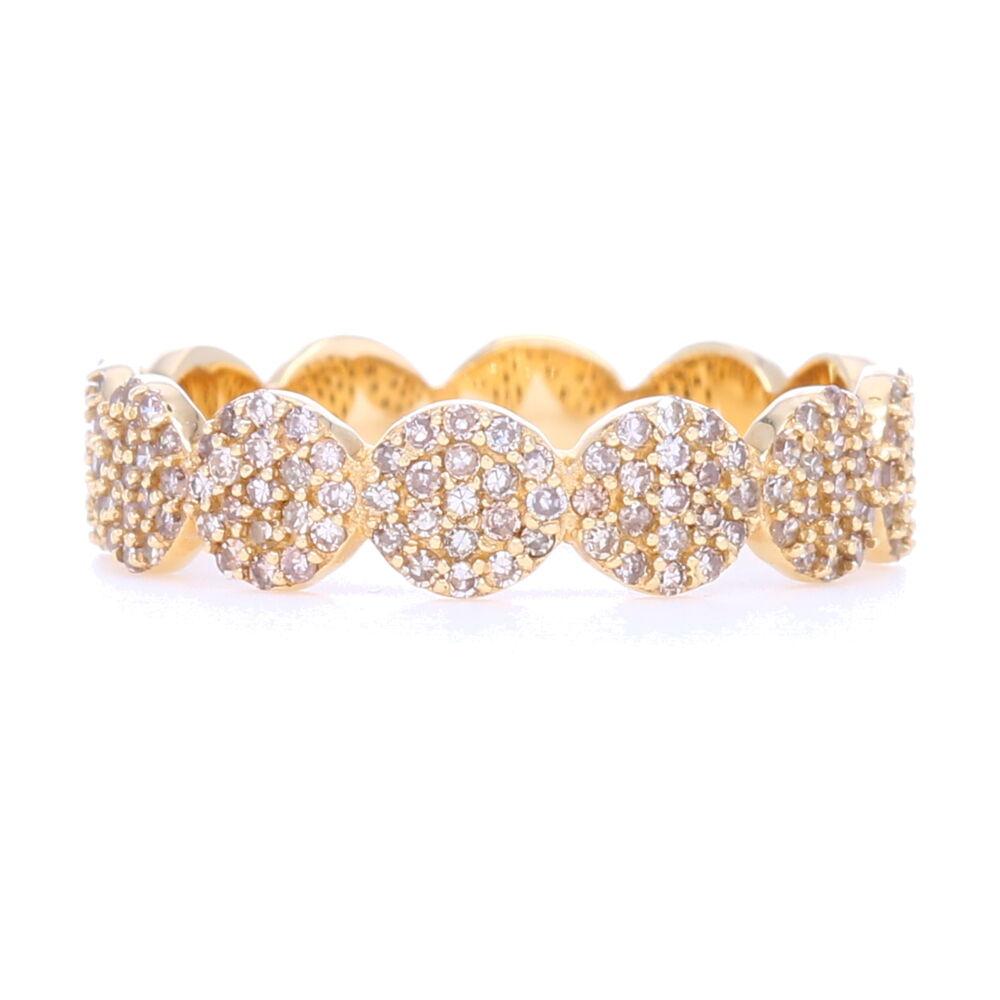 14k Gold Circle Eternity Band with Pave Diamonds 1/2 way