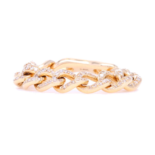 Closeup photo of Flexible Pave Curb Link Stack Ring 14k Gold with Diamonds