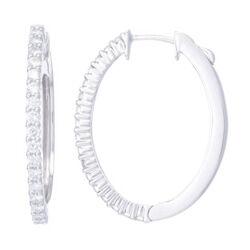 Closeup photo of 18k White Gold Diamond Hoop Earrings