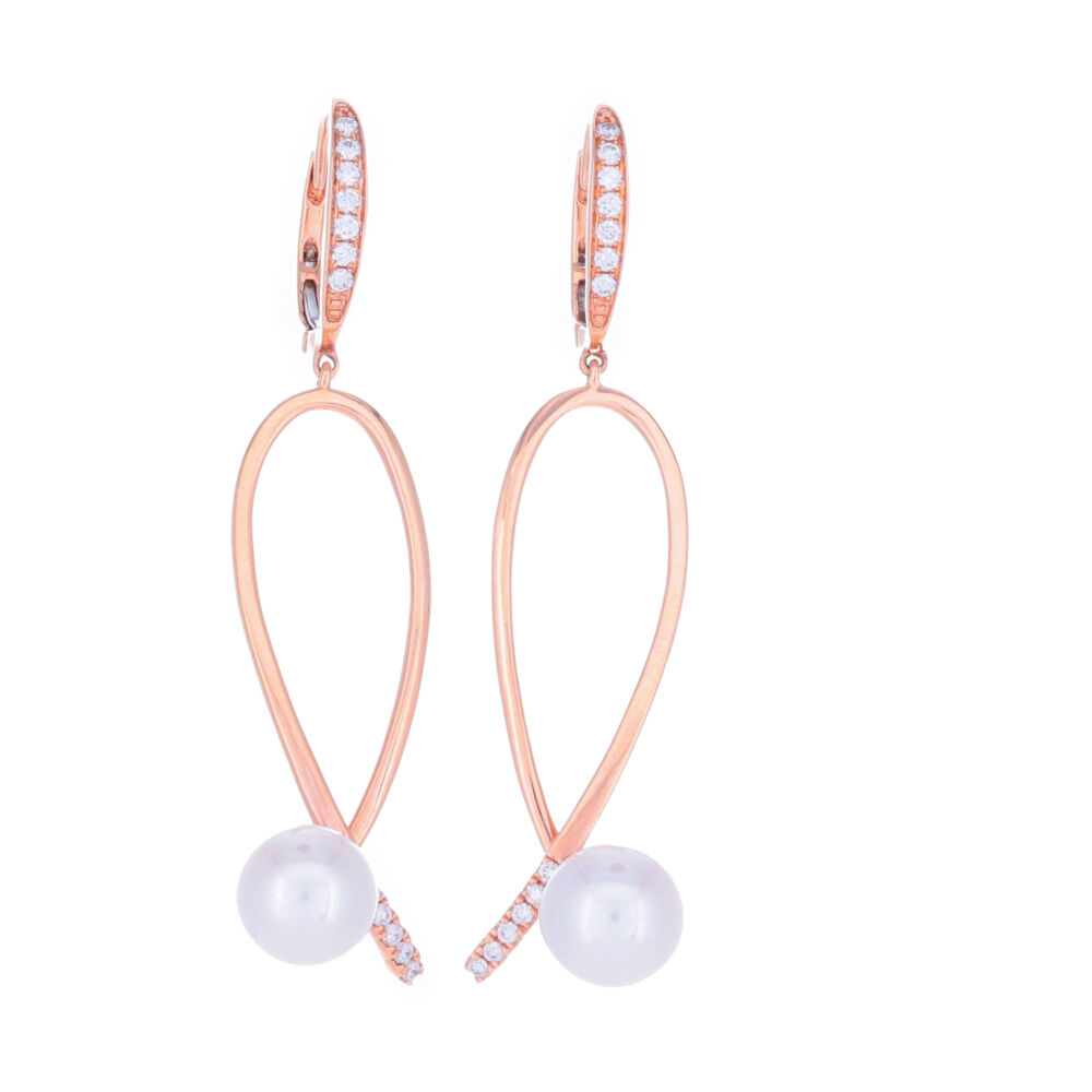18k Rose Gold Diamond Pearl Earring