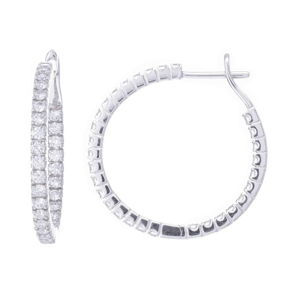 18k White Gold Prong Set Diamond Inside Outside Hoop Earrings
