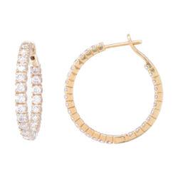 Closeup photo of 18k Yellow Gold Diamond Hoop Earrings